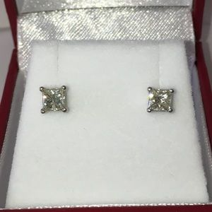 Jewelry - 14K White Gold 3/4CT Diamond Solitaire Earrings
